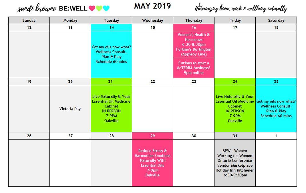 BE WELL NOW May 2019 Workshops